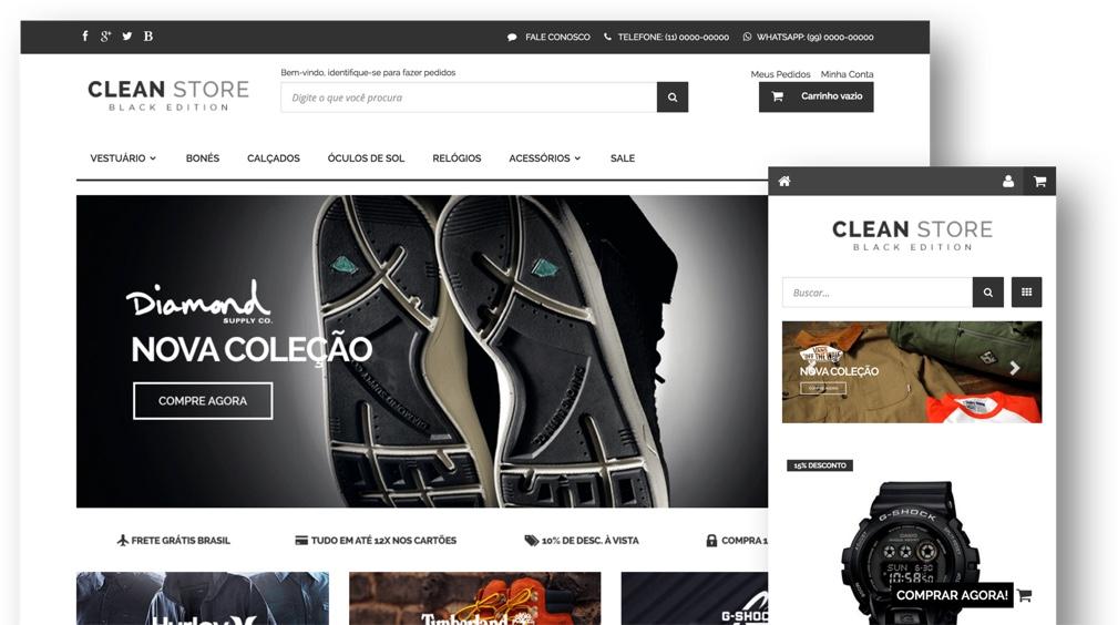 Exemplo do tema clean store black